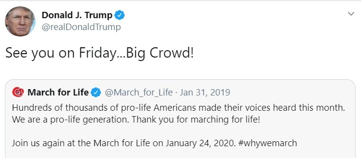 President Trump will attend March for Life in person, first president ever to join pro-lifers