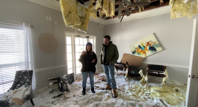 Hope Women's Center CEO Holly Snell and husband Aaron speak from the center devastated center after the 2021 winter storm in Texas