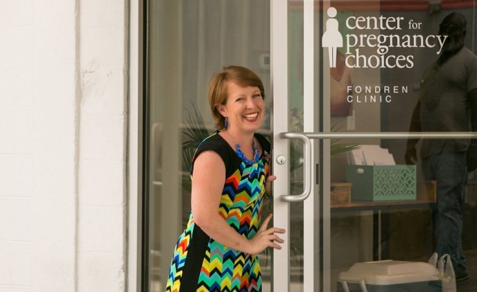 Erin Kate Goode at the new location of Center for Pregnancy Choices, 100 yards down from Mississippi's lone abortion clinic.