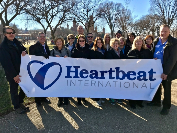 Peggy Hartshorn with national and local pregnancy help leaders at the 2018 March for Life in Washington, D.C.