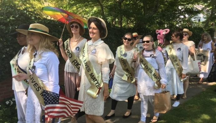 Lady Parts Justice League co-opting the suffragettes - who were all pro-life women - to protest a Long Island pregnancy center on August 24.