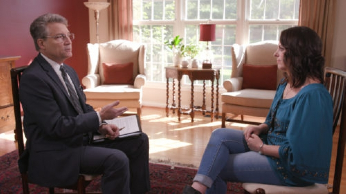 Elizabeth Gillette shares her traumatic experience with the chemical abortion pill with Brad Mattes, president of Life Issues Institute, in new documentary