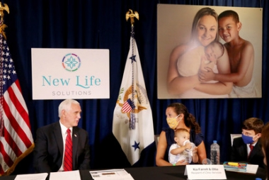 VP Mike Pence meets with Kia Farrell and her son Ollie. Farrell went to Planned Parenthood for an abortion, changed her mind, and went to Heartbeat International affiliate A Woman's Place Medical Clinic where she chose life.