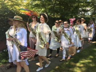 Lady Parts Justice League co-opting the suffragettes - made up entirely of pro-life women - to protest a Long Island pregnancy center on August 24.