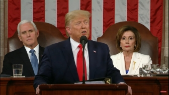 President Donald Trump delivers the State of the Union Address from the House chamber Feb. 4, 2020