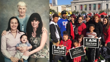 Left: Sally (standing), Arica with son Eurijah, and mother Laurie Gaines | Right: Arica and her family at the 2015 San Francisco Walk for Life