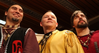"Jonathan Maracle (center) and his band, ""Broken Walls."""