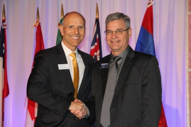Dr. George Delgado (left) with Heartbeat International president Jor-El Godsey.