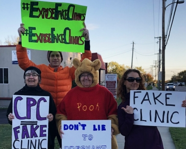 Pro-abortion protesters outside a life-saving pregnancy center offering free services to women in Missouri.