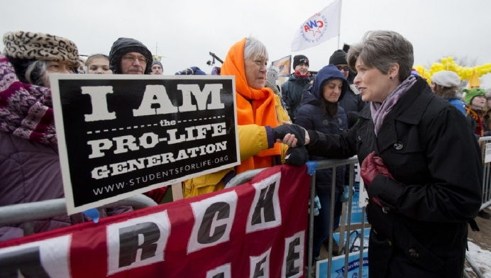 Sen. Joni Ernst greets participants in the 2017 March for Life.