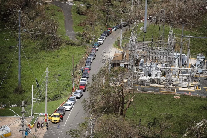 A gas line in Puerto Rico, following devastating flooding and storm damage from Hurricane Maria.