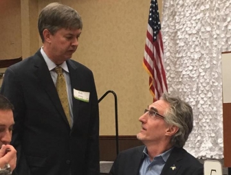 Kirk Walden with North Dakota Gov. Doug Burgum at a recent pregnancy center banquet in Bismark