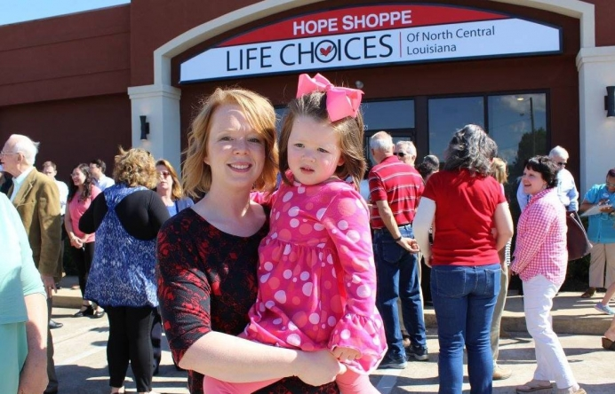 Kathleen Richard and her daughter in front of the new location for Life Choices of North Central Louisiana.