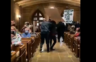 Pro-abortion activists stormed St. Joseph Cathedral in Columbus, OH, during the Jan. 22 Respect Life Mass