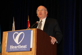 Chuck Donovan at his keynote address for the 2015 Heartbeat International Annual Conference.
