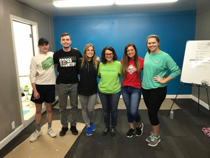 A group of volunteers at a recent work day for Quad Cities Pregnancy Resource Center in Moline, Ill.