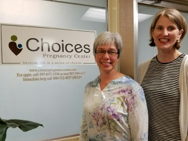 fter 24 years of service, Karen Boots (left) is handing off the role of executive director of Choices Pregnancy Center in Redwood Falls, Minn., to Carrie Meyers (right).