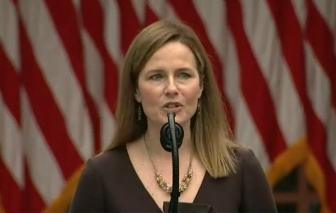 Judge Amy Coney Barrett speaks in the White House Rose Garden as her nomination to the Supreme Court is announced