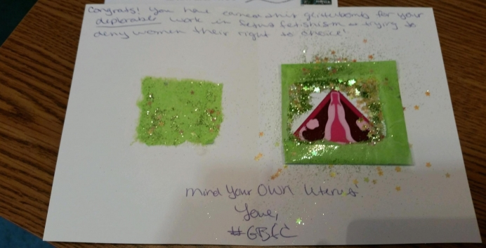 "A sample of the mailings sent by ""Glitter Bombs For Choice"""
