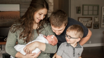 Emily and Jeremy Eekoff with their children, Liam (2) and Ruby.