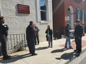 Hagerstown police confront Wanda King at the Hagerstown Reproductive Health abortion facility