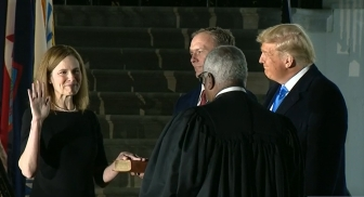 Justice Amy Coney Barrett is sworn in Oct. 26, 2020, as an Associate Justice to the U.S. Supreme Court