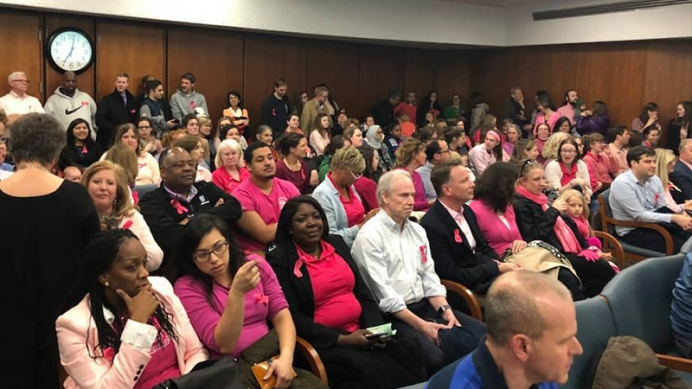 Hundreds of pro-lifers don pink at April 10 city council meeting to support Women's Care Center.
