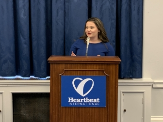 Rebekah Hagan addresses Heartbeat International's Congressional APR briefing