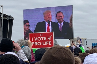 Donald Trump addresses the 2020 March for Life Rally as Sen. Mike Lee (R-UT) looks on