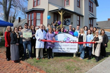 Donna Malone cuts the ribbon on Life Choices' new location in her hometown of Manchester, Tenn., Feb 15, 2017.