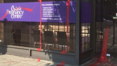 On the mornings of July 30 and and October 1, Crisis Pregnancy Centre staff arrived to work to find red paint splattered across the storefront.